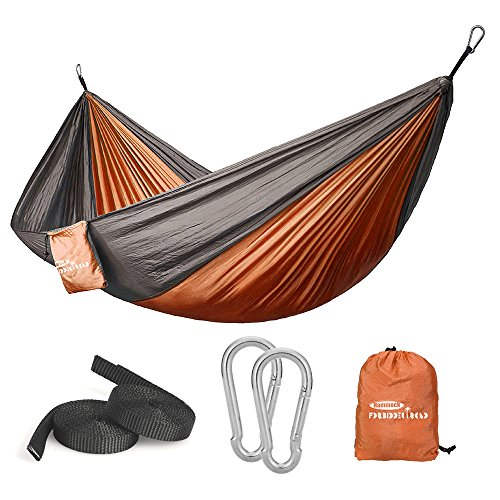 Forbidden Road Swing Camping Hammock 210D Nylon with Straps (Orange/Grey, Single)