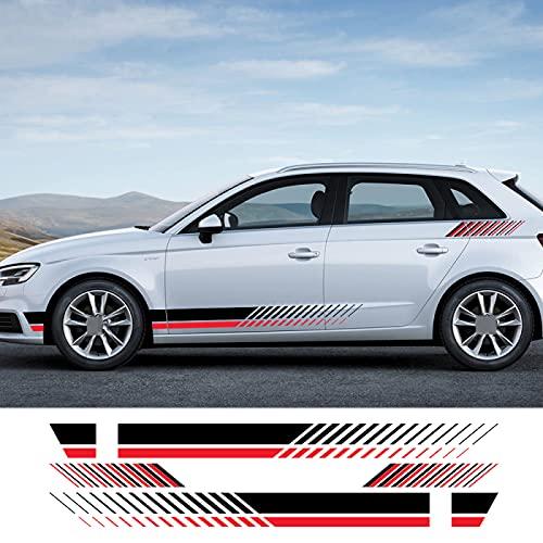 Qwldmj 4 Uds Pegatinas de Coche película de Vinilo de Rayas Laterales Auto DIY decoración calcomanías para Audi A3 8p 8v A4 b8 b6 b7 b9 B5 A5 A6 Accesorios de Coche