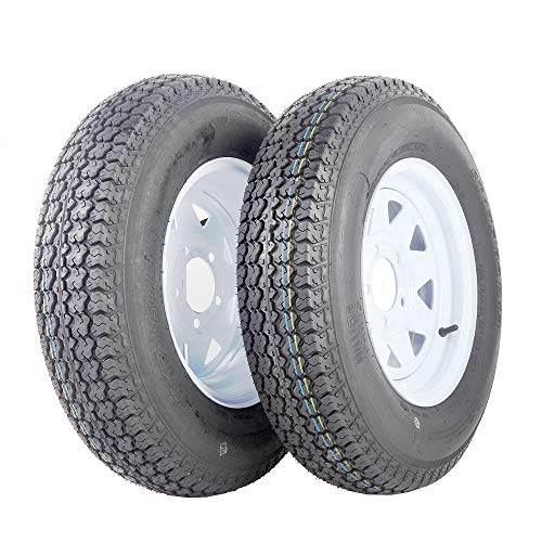 "MILLION PARTS 2Pcs 13"" White Spoke Trailer Tire Rim ST175/80D13 Tire Mounted 5x4.5 bolt circle"