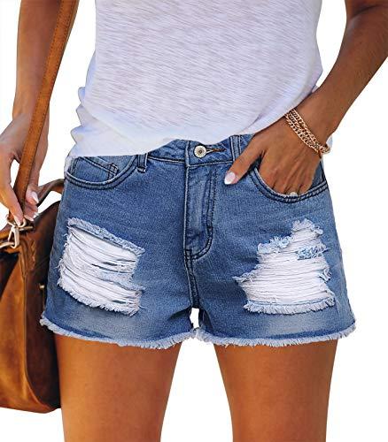 MEROKEETY Womens Mid Rise Ripped Denim Shorts Frayed Raw Hem Summer Jeans with Pockets, B-Midblue, S