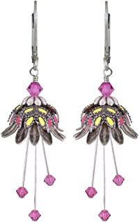 NoMonet Hand Painted Flower Fairy Earrings - Daisy Oracle Earrings - Silver, Pink and Yellow