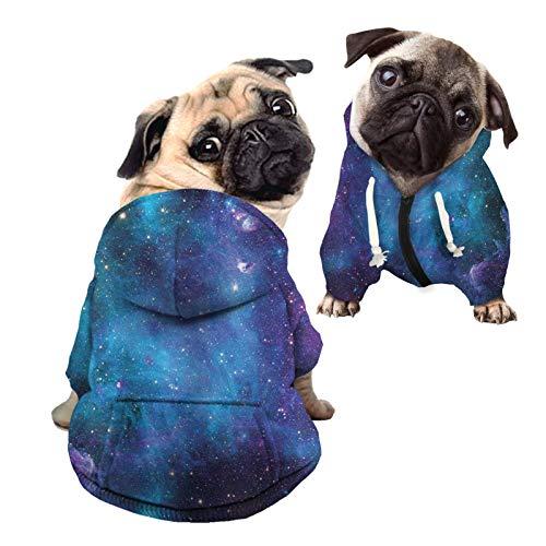 HUGS IDEA Ropa casual para mascotas, Galaxy Blue Starry Night Nebulosa cremallera algodn polister sudadera perro abrigo suave y clido suter con sombrero - M