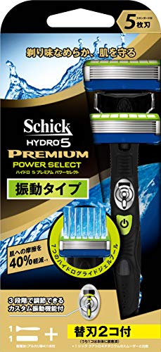 シック Schick 5枚刃 ハイドロ5 プレミアム パワーセレクト ホルダー 替刃1コ + 交換 替刃1コ付 選べる3段階カスタム振動 男性カミソリ 替刃(1コは本体に装着済み)