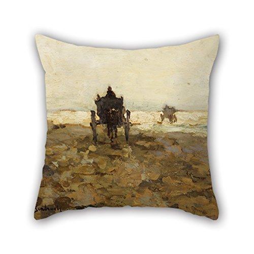 N\A Pintura al óleo Jan Hendrik Weissenbruch - Fundas de Cojines para Carro de Concha, Adorno de 2 Lados y Regalo para la Tumbona de Oficina, Adultos, hogar, Adolescentes, niñas, sofá