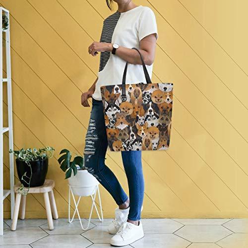 Gigijy Handtasche mit Hundemuster, groß für Damen, Schultertasche, Einkaufstasche, Organizer, Taschen für Frauen, Top-Griff