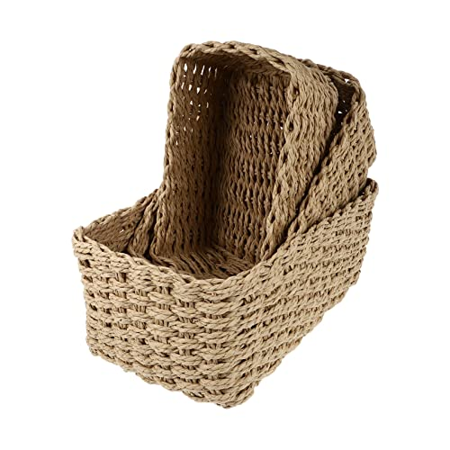 TOPBATHY 3 piezas cestas de almacenamiento tejidas Ratten organizador de caja de escritorio hecho a mano encimera tanque artículos estante gabinete picnic caso para dormitorio sala de estar