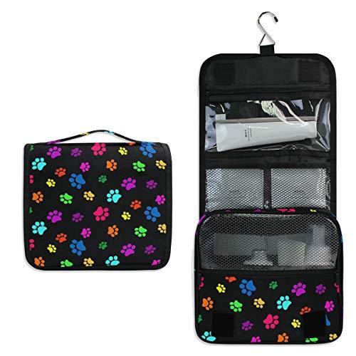 CPYang Neceser colgante colorido con estampado de huellas de perro, gato, bolsa de cosméticos portátil para mujeres y hombres