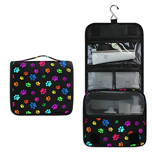 CPYang - Neceser para colgar con diseño de huellas de perro, gato, bolsa de cosméticos, kit de aseo portátil para mujeres y hombres
