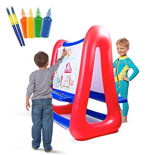 Inflatable Art Easel for Kids | Red & Blue Easel for Kids | Double Sided 4 ft Tall 3 ft Wide | Inflatable Easel Great for Indoor or Outdoor Inflatables Games