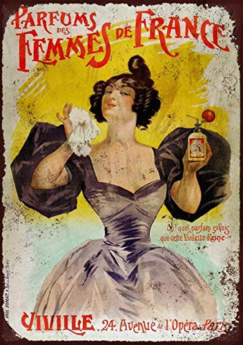 LORENZO French Femme Perfume Vintage Metal Cartel de Chapa Pared Hierro Pintura Placa Cartel Señal de Advertencia Cafe Bar Pub Beer Club Decoración del hogar