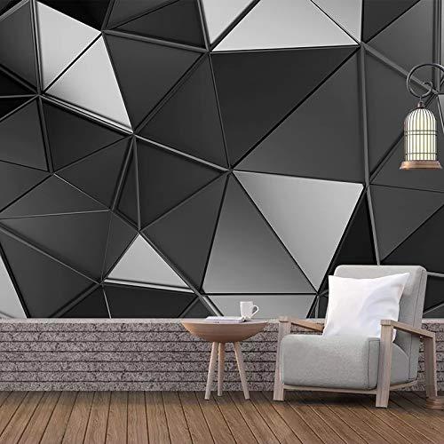 3D Wallpaper Für Wände Modern Stereoscopic Black Grey Geometric Art Wandbild Schlafzimmer Wohnzimmer Tv Hintergrund Wanddekoration 400(B) X280(H) Cm