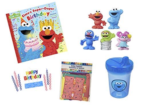 Sesame Street Birthday Party Pack (15 pcs) - Elmo's Super-Duper Birthday Book, 5 Different Collector Character Figures, Cookie Monster Spill Proof Cup, Happy Birthday Banner, Happy Birthday Candles