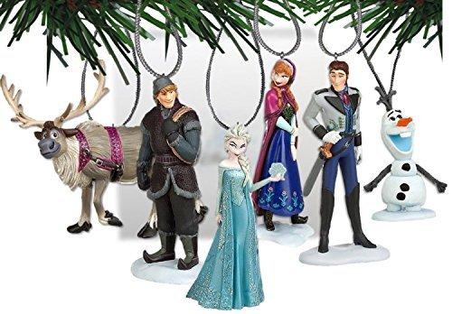 Disney Frozen Set di decorazioni albero di Natale con Anna, Elsa, Hans, Kristoff, Sven, la renna, Olaf Il pupazzo di neve–decorazioni in plastica infrangibile da 3