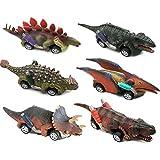 VCOSTORE Dinosauro tirare indietro le auto, 6 pezzi di giocattoli per auto con dinosauro alimentato a frizione Set di forniture per feste di compleanno di dinosauri Bomboniere per bambini