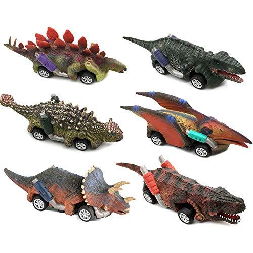 VCOSTORE Dinosaurios tirados hacia atrás, Juego de Juguetes de Coches de Dinosaurio con Motor de fricción de 6 Piezas, Suministros de Fiesta de cumpleaños de Dinosaurio, favores para niños