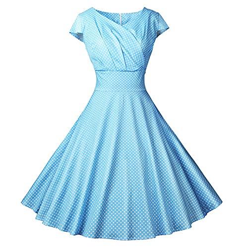 De las mujeres 50s 60s una línea Rockabilly vestido manga Vintage Swing vestido de fiesta señoras Retro Dot noche vestido de fiesta R044, azul celeste, XX-Large