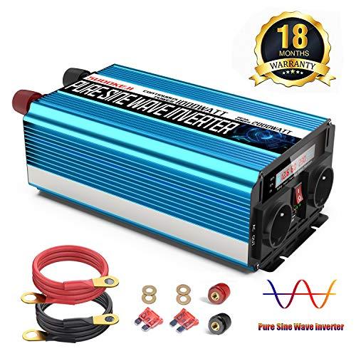 SUDOKEJI 1000W Spannungswandler Reiner Sinus Wechselrichter 12v auf 230v Mit LCD-Bildschirm und 2 Steckdosen und USB-Anschluss