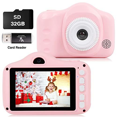 Cámara Fotos Infantil Digital para Niños Juguetes Niña Regalos para Niños Pantalla HD de 3.5 Pulgadas 1080P Tarjeta de 32GB TF Regalos Juguete para Niños de 3 a 8 años Niños Niñas (Rosa)