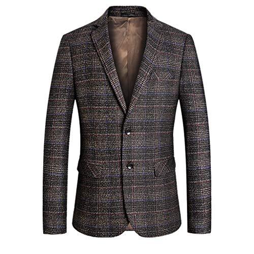 Hniunew Blazer Kariert Sakko Slim Fit Anzugjacke Klassisch Tweed Smokingjacke Tailliert Vintage Reverskragen Anzugjacken Blazer Herren England Stil Karierter Anzug Formelle Jacke