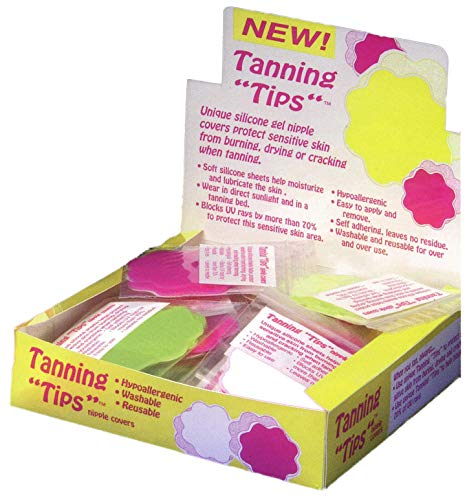Tanning Tips - 2 Pair -Silicone Adhesive Reusable Nipple Covers/Pasties - 1 Pair Bright Pink and 1 Pair Bright Green