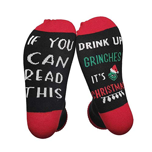 CHTINGDAMAI Lustige Socken, If You Can Read This Drink Up Grinches It'S Christmas Weihnachtsstrumpf