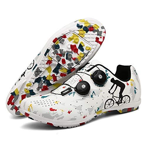 AGYE Rennradschuhe Herren, Fahrradschuhe Herren,Frauen Pro Rennrad Schuhe Indoor Riding Road Cycling Spining Schuhe für Erwachsene Unisex,White(Rubber)-EU37