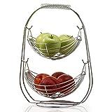 NONMON Cesta de Frutas, Frutero 2 Pisos Hamaca Colgante Tazones, Gran Capacidad Metal Cromado Organizador Estantes para Fruta Verdura, Soporte de Almacenamiento Moderno para Cocina Mostrador