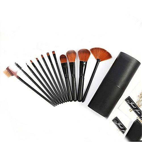 MOONRING 12 pièces pinceau de maquillage pour fond de teint fard à paupières blush poudre outils cosmétiques, noir