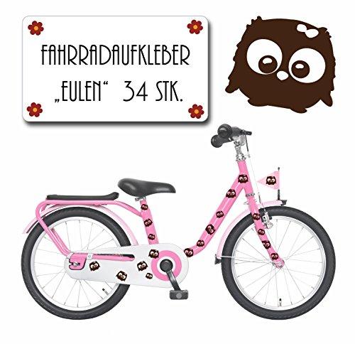 ilka parey wandtattoo-welt Autocollant vélo Lot de 33 Stickers Hibou Chouette Hibou sur Colle sericealis Vélo Stickers pour Enfants M1152