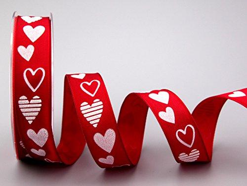 Dekoband Valentin ROT 3 m x 25 mm (0,83€/m) Geschenkband Stoffband mit Draht Herzen Hearts Liebe Valentinstag Geburtstag Hochzeit Deko Drahtkantenband Schleifenband