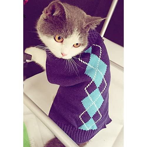 c2e1eb42619 Argyle Knit Pet Sweaters Clothes for Pets