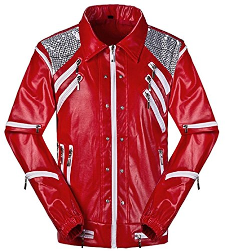 Shuanghao Michael Jackson Jackets MJ chaquetaTraje de Cosplay Thriller Batirlo Billie Jean Traje de Fiesta de Halloween Chaqueta (Give Glove) (Peso:55-60kg, Beat)