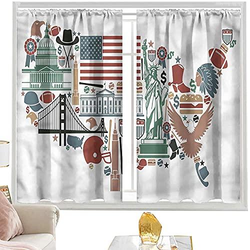 Cortina opaca con bolsillo para barra de cortina, mapa, lugares de interés de viaje, bandera de EE. UU., 152 x 172 cm