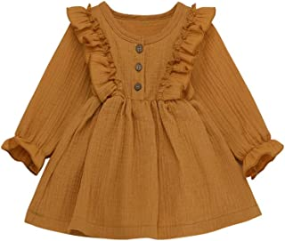 Vedext Toddler Baby Girl Outfits Cotton Linen Long Sleeve Dress Ruffled Skirt Infant Fall Clothes