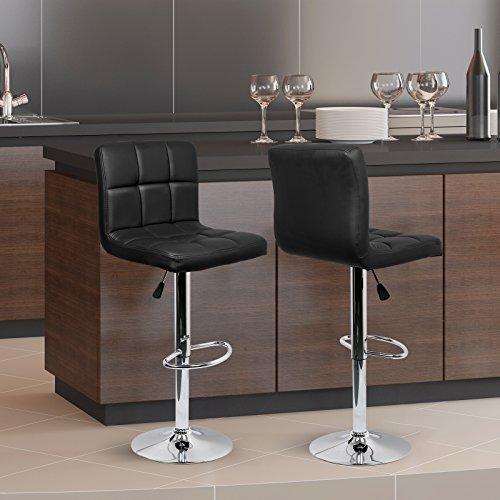 IntimaTe WM Heart 2 x Taburetes de Bar Cuadrado y Moderno Tapizados en Cuero de PU Silla Altura Ajustable Giratoria para Bar Cocina (Negro)