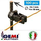 Aisladores para postes de Hierro para Pastor eléctrico Cerca eléctrica Gemi Elettronica - 100 piezas