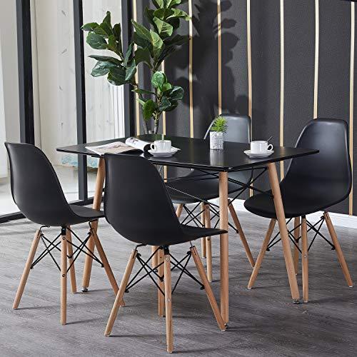 H.J WeDoo Essgruppe mit Esstisch und 4 Essstühlen, Moderner Rechteckig Tisch mit 4 Schwarz Skandinavisch Stühle für Esszimmer, Küche & Wohnzimmer