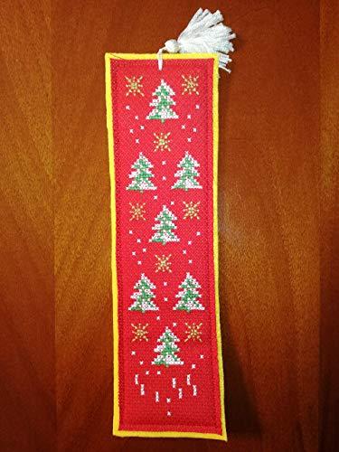ALBERELLI - Segnalibro in feltro giallo - punto croce - cross-stitch - natale - albero - abete