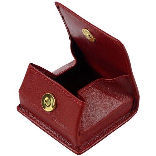 Golunski - Porte-Monnaie Homme Femme Cuir Bouton Pression Magnétique Aimanté Collection de Marque - TU, Rouge