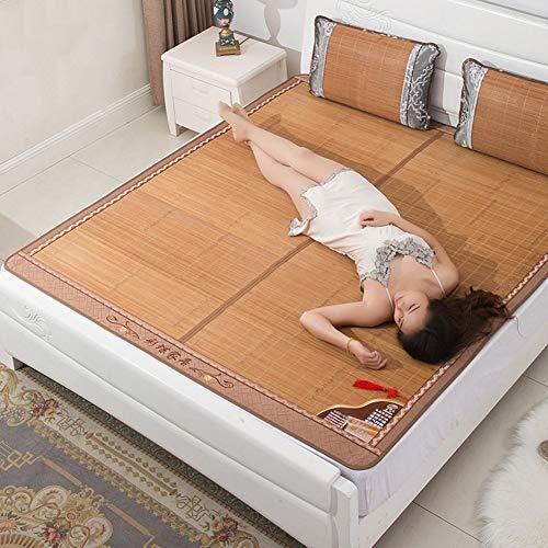 Estera de bambú Colchón Fresco, colchoneta de Paja de Ropa de Cama Mats para Dormir de Verano Matera de Cama Plegable Doble Cara de Doble Cara Refrigeración del Dormitorio