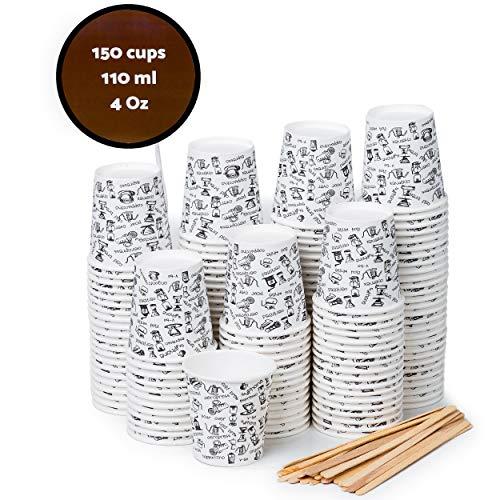 150 Vasos Carton Desechables para Café Espresso 110 ml con Agitadores de Madera para Café Para Llevar