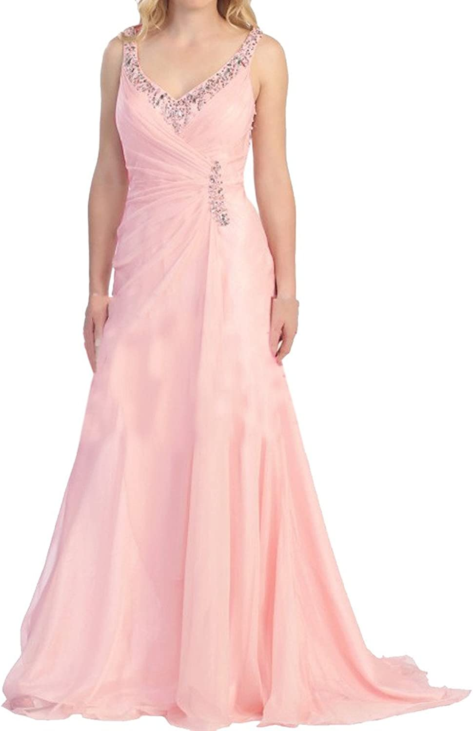 Avril Dress Elegant Straps Mother of Bride V Neck Illusion Back Long Dress