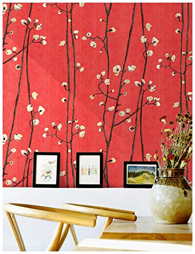 HaokHome 83009 Blooming Vintage Floral Peony Wallpaper 20.8' x 33ft Red/Pink/Brown/Yellow Removable Textured Decorative Wall Paper