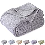 KAWAHOME Summer Knit Blanket Lightweight Breathable Fuzzy Heather Jersey Thin Blanket for Couch Sofa Bed Queen Size 90 X 90 Inches Grey and White