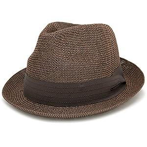 ハット 春夏 帽子 メンズ 麦わら帽子 Edgecity ベーシックサーモストローハット M2.ブラウン