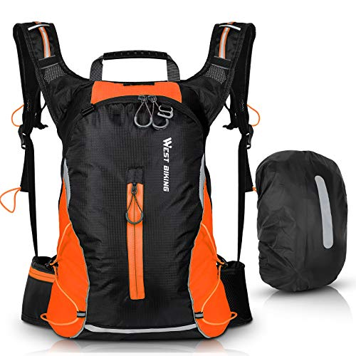 ICOCOPRO Mochila de bicicleta impermeable para hombre y mujer, 16 L, pequeña mochila de senderismo, ligera, mochila deportiva, mochila reflectante para senderismo, escalada, ciclismo, correr, naranja