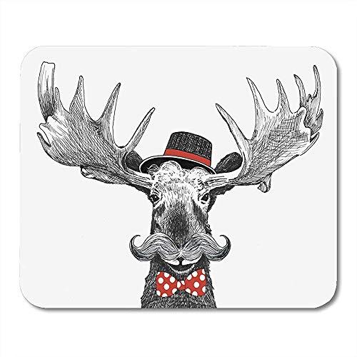 Cartoon Hipster Moose Large Lenker Schnurrbart Cool Hat Funktionsschreibtisch Mousepad 18x22cm