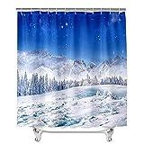Oduo Duschvorhänge für Badewannen - 3D Schneeflocke Drucken Duschvorhang Wasserdicht Antischimmel Bad Vorhang Waschbar Badewanne Vorhang mit 12 Duschvorhangringe (Zeder,90x180cm)