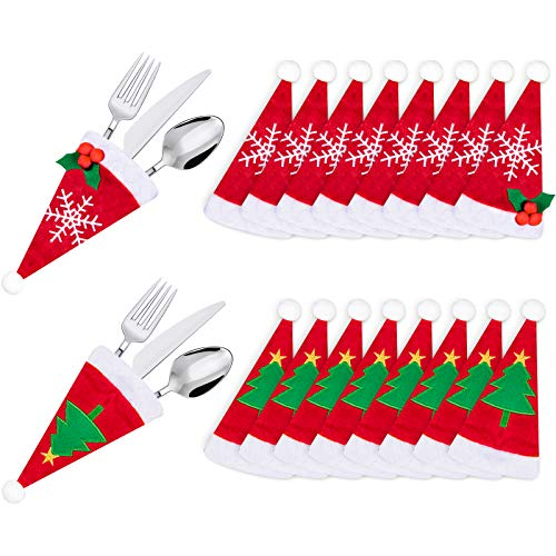 Whaline 16pcs Christmas Santa Hat Silverware Holders Xmas Tableware Holders Set for Cutlery Holders for Christmas Party Holiday Dinner Kitchen Supplies