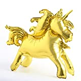 Self Stand steadily Unicorn Birthday Party Decorations Supplies Wedding Engagement Children's Day Foil Unicorn Horse Animal Balloons Toy (Unicorn Gold)